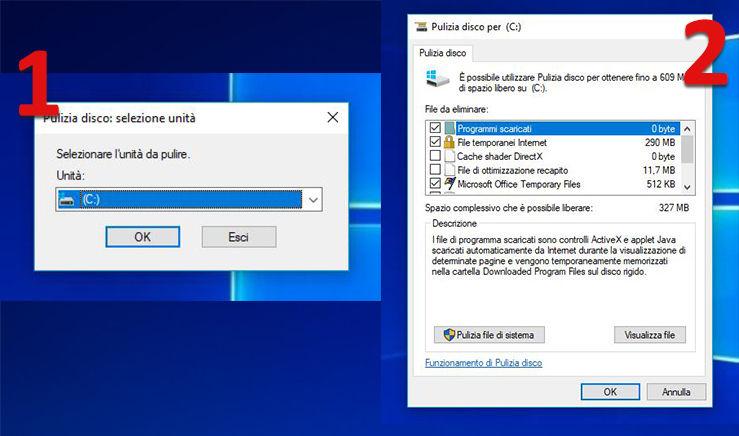 Eseguire pulizia disco rimuovere i file temporanei