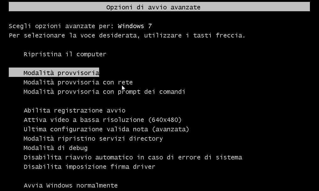 Avviare il PC in modalità provvisoria su Windows 7 - XP