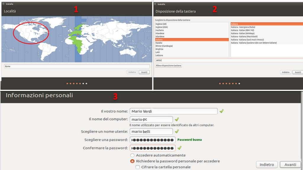 Come installare Ubuntu lingua località dati utente password