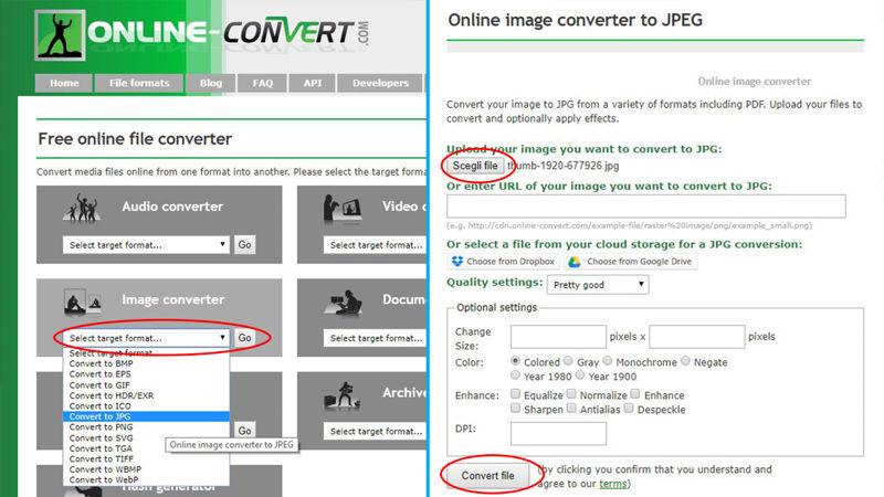 Come convertire immagini conOnline Convert