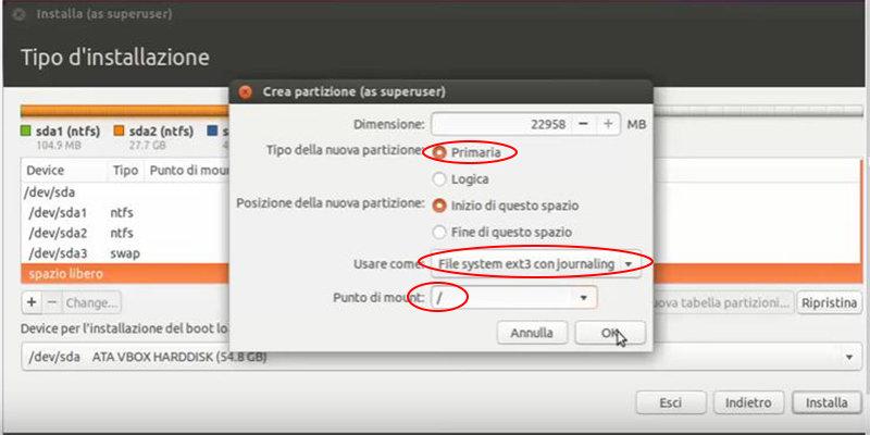 installare Ubuntu a fianco di Windows 10 partizione