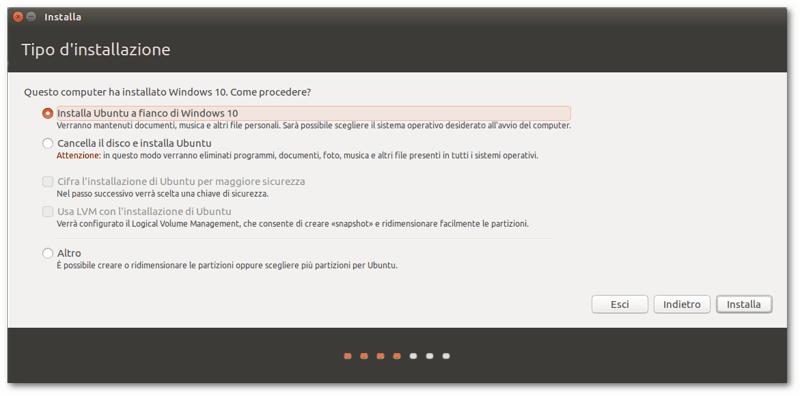 installare Ubuntu a fianco di Windows 10