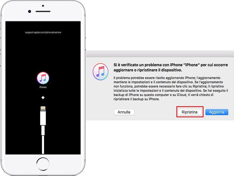 iphone rimane bloccato schermata itunes
