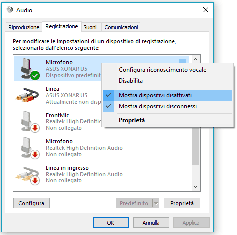 Problemi registrazione audio Dispositivo di registrazione