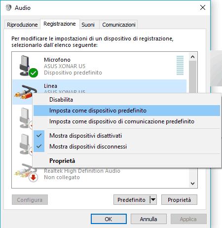 Problemi registrazione audio Selezionare il dispositivo di registrazione corretto