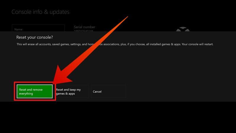 Xbox One switch HDMI: Hard reset della console