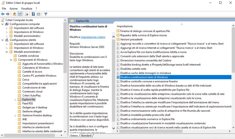 disabilitare le scorciatoie da tastiera su Windows 10
