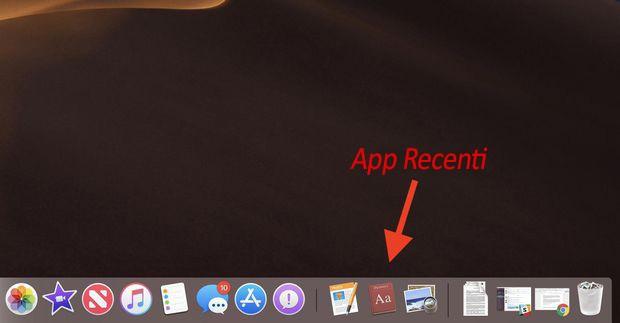 nascondere le app recenti nella dock MacOS Mojave