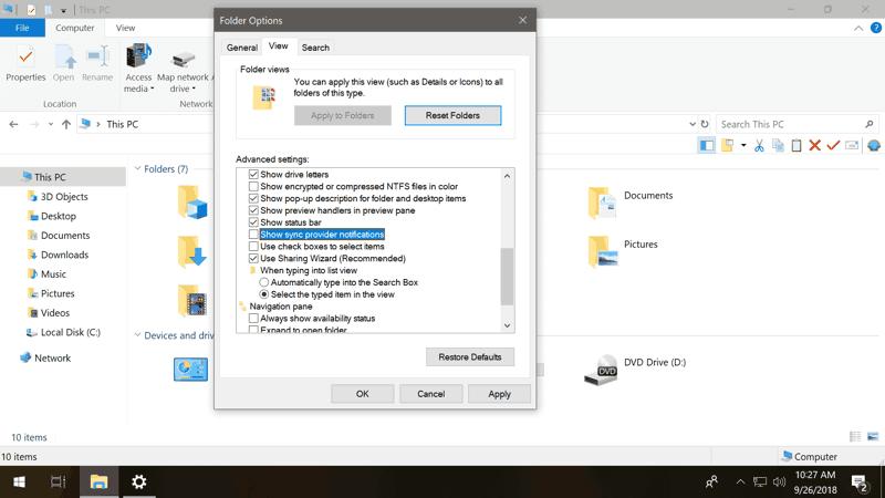 Disattivare gli annunci in Esplora file di Windows 10