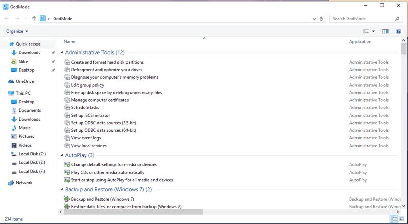 abilitare la God mode in Windows 10