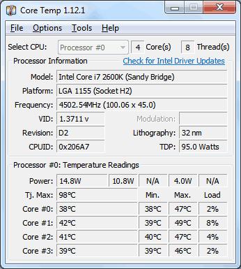 controllare la temperatura della CPU core temp
