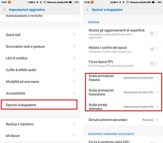 smartphone Xiaomi animazioni veloci