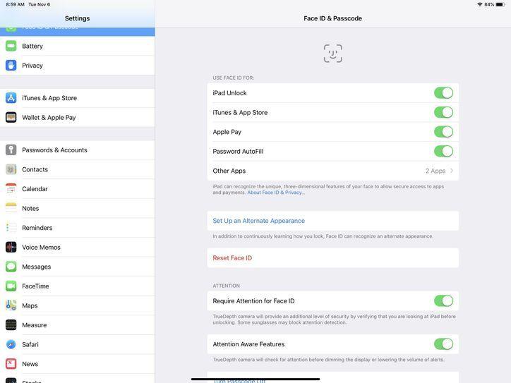 Face ID su iPad Pro impostazioni
