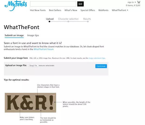 Riconoscere font da immagine con My Fonts