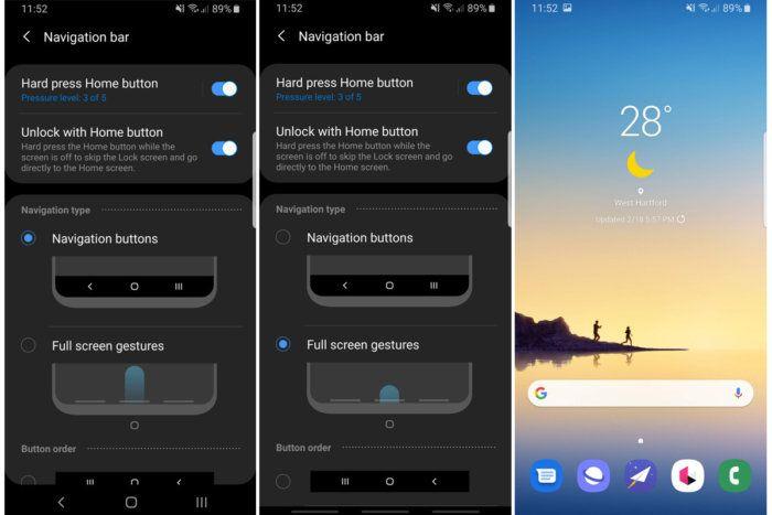 Samsung One Attivate navigazione con gesti