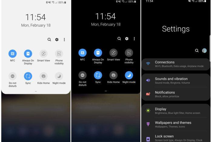 Samsung One modalità Notte
