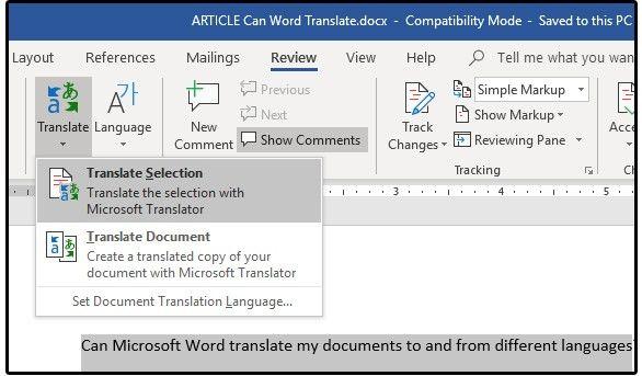 funzione traduzione di Word