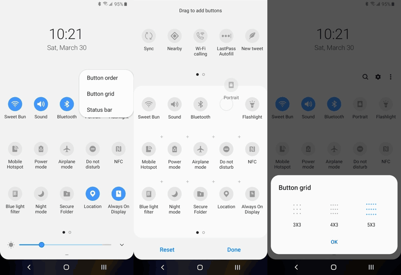 Samsung Galaxy S10 Riorganizzare le impostazioni rapide