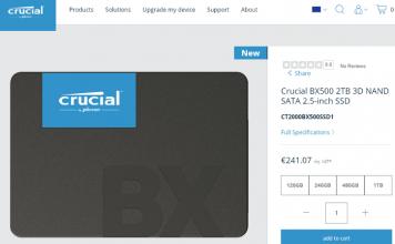 Crucial SSD BX500 1 e 2 TB