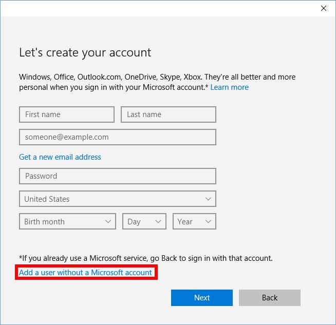 Aggiungi un utente senza account Microsoft