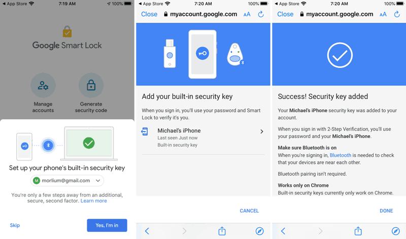 Configurare iPhone come chiave di sicurezza