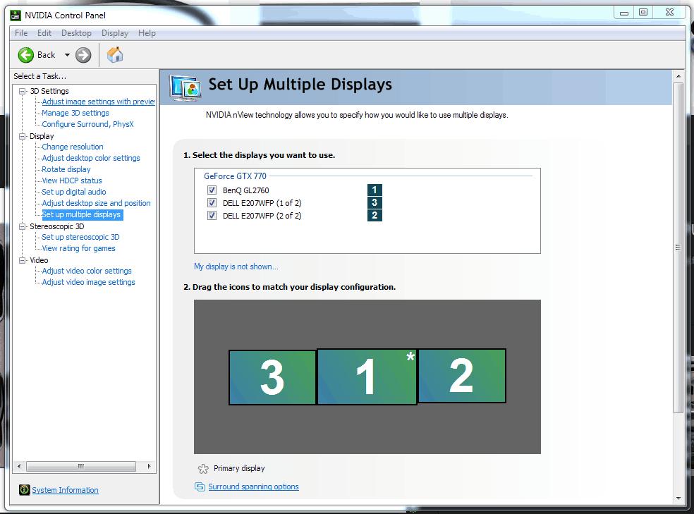 Configurare il PC multi monitor pannello nvidia