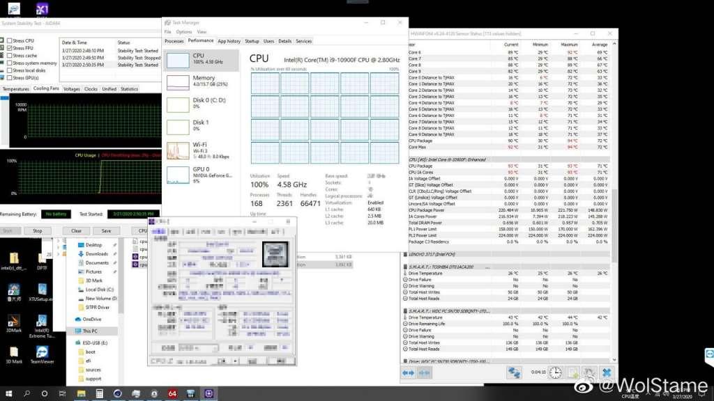 CPU Intel Core i9-10900F a 10 core consuma fino a 224 W
