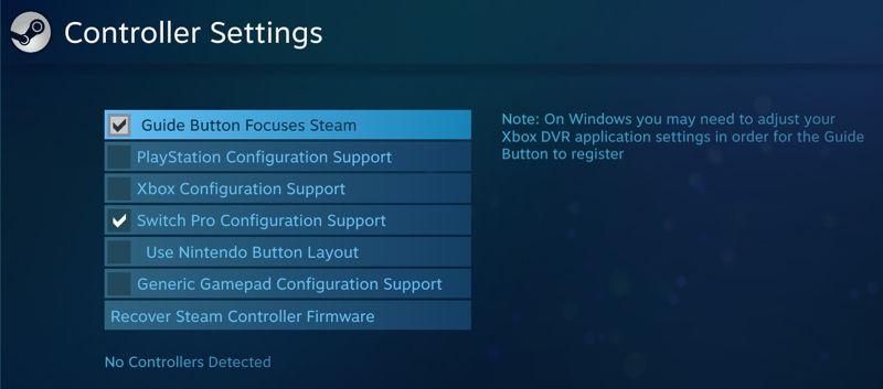 configurare Steam per l'uso con un controller Switch Pro