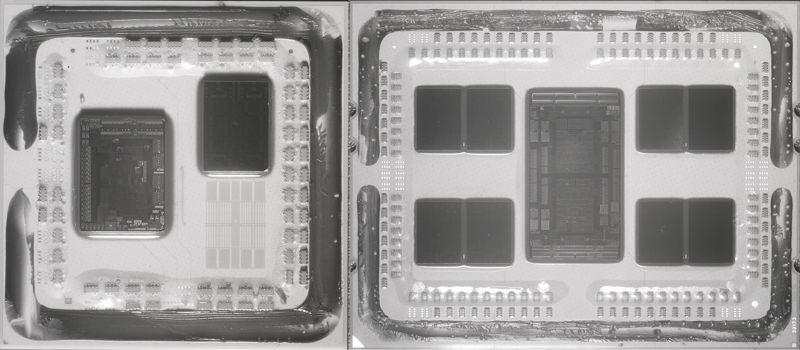 Immagini a infrarossi di una Zen 2 Ryzen ed EPYC. I chiplet CCD sono chiaramente separati dal chip I / O