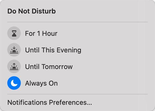 attivare Non disturbare in macOS Big Sur
