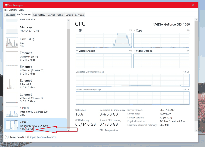 controllare temperatura scheda grafica Task Manager