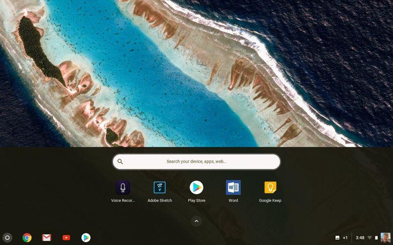 Chromebook app sotto la barra delle applicazioni