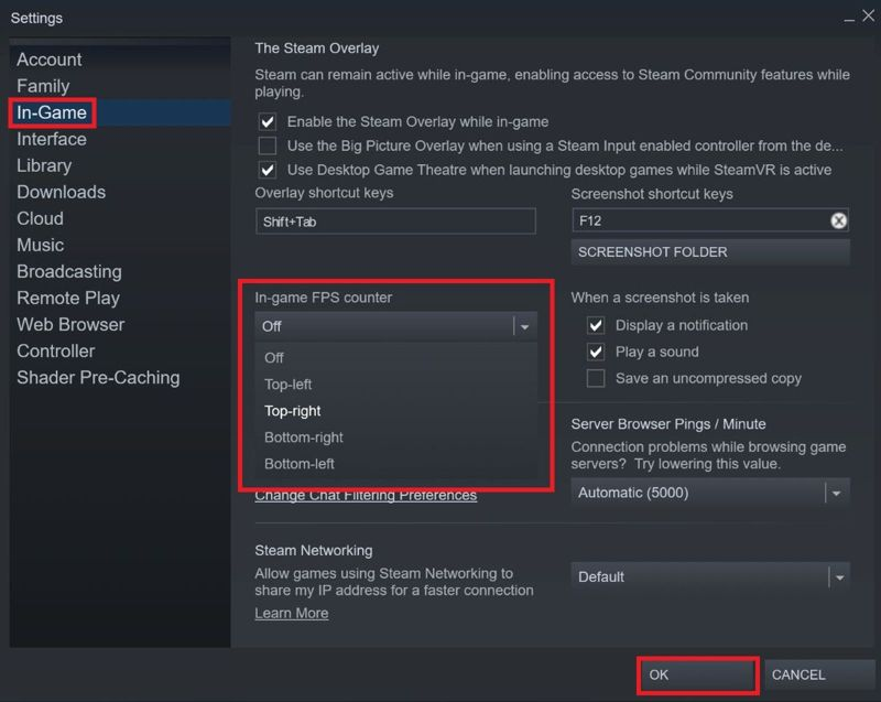 frame rate con il contatore FPS di Steam