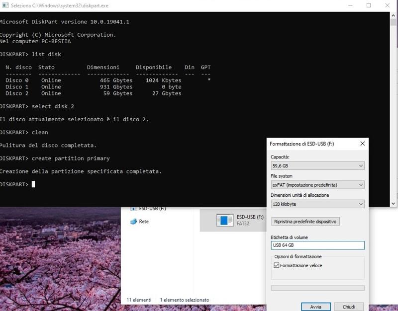 Formattazione chiavetta USB Windows-10