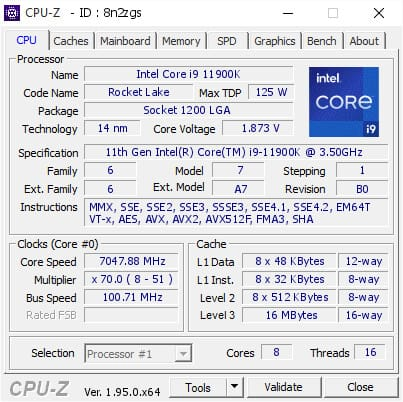 Intel Core i9-11900K frequenza 7 GHz a 1,873 V