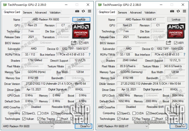 AMD Radeon RX 6600 specifiche da GPU-Z