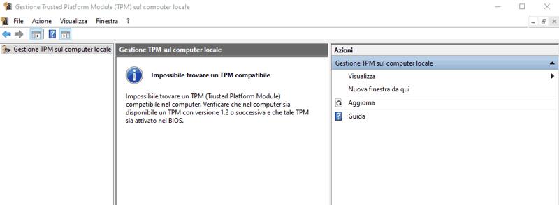 modulo tpm non disponibile